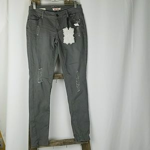 Wet Seal Hot Kiss Jeans junior 5 gray skinny lily